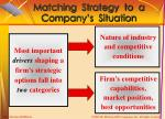 matching strategy to a company s situation
