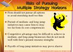 risks of pursuing multiple strategy horizons