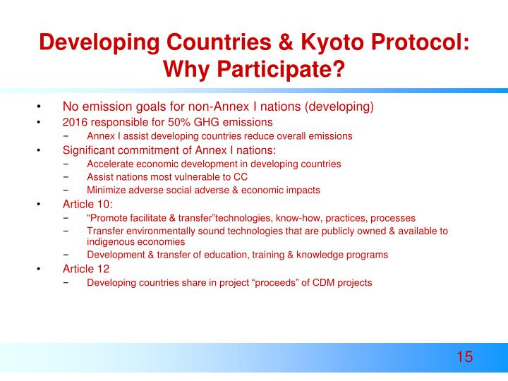 Developing Countries & Kyoto Protocol: Why Participate?