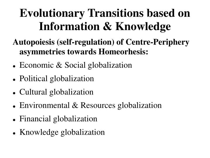Evolutionary transitions based on information knowledge