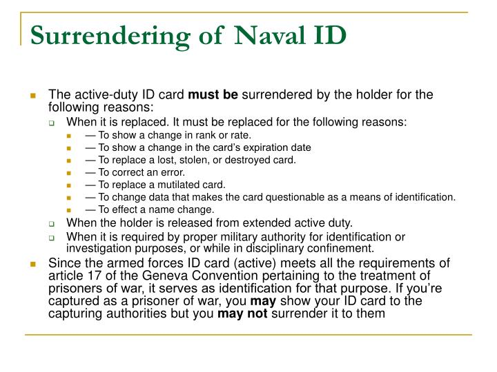 Surrendering of Naval ID