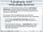 a complication direct versus indirect democracy