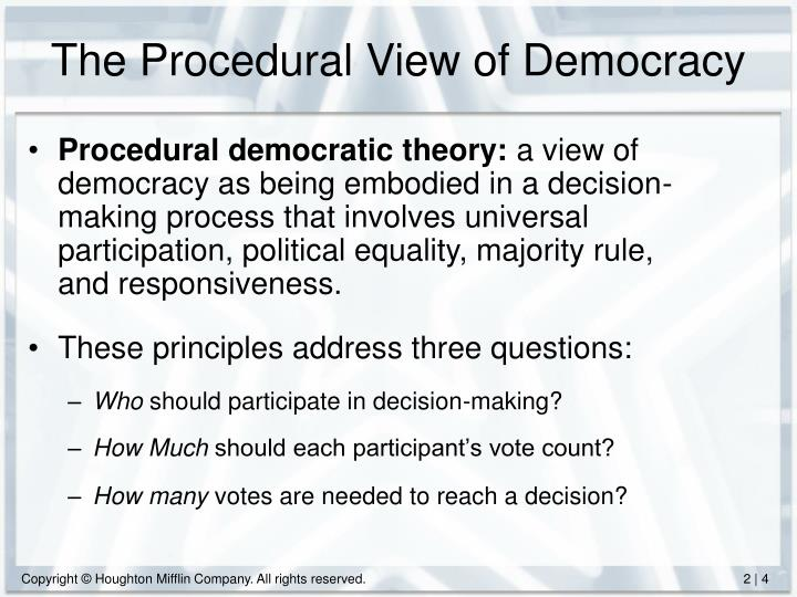 The Procedural View of Democracy