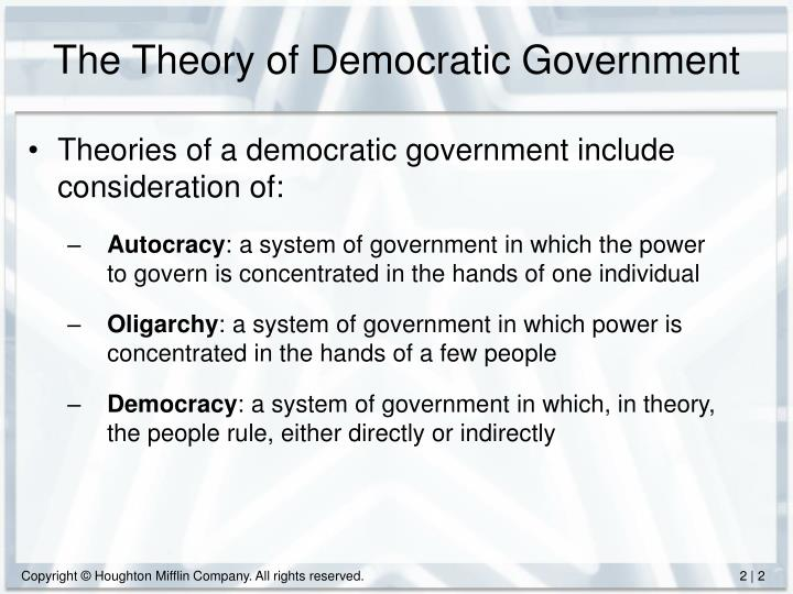 The theory of democratic government