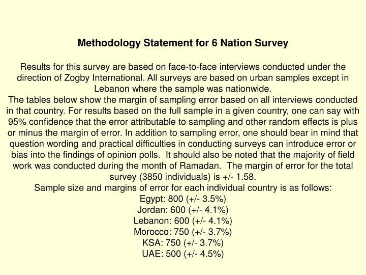 Methodology Statement for 6 Nation Survey