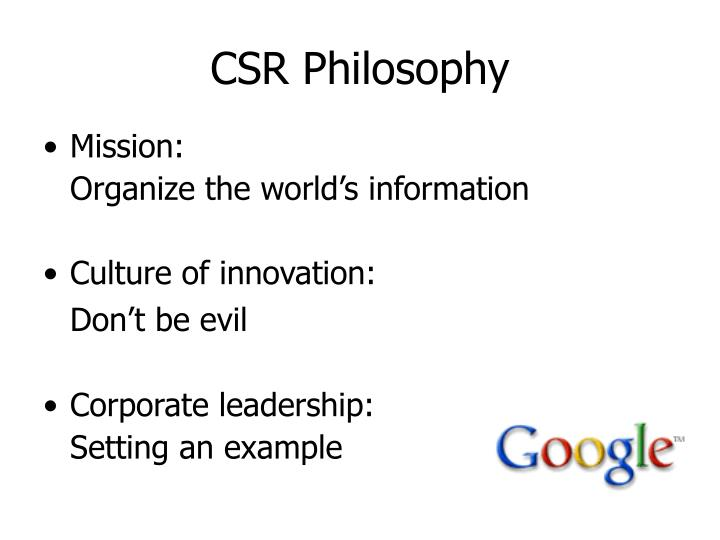 CSR Philosophy