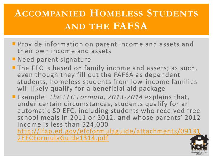 Accompanied Homeless Students and the FAFSA