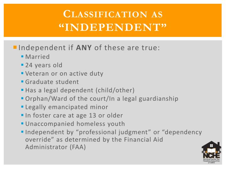 "Classification as ""INDEPENDENT"""