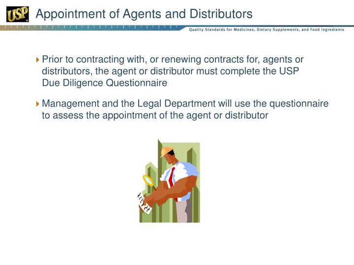Appointment of Agents and Distributors