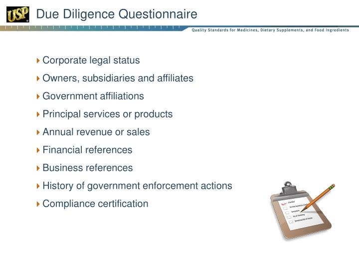 Due Diligence Questionnaire