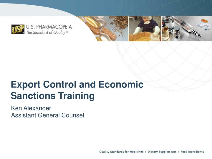 Export Control and Economic Sanctions Training