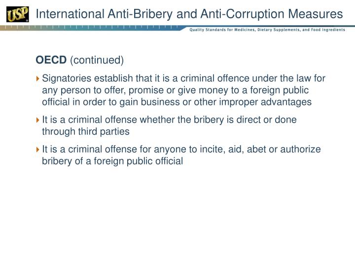 International anti bribery and anti corruption measures1
