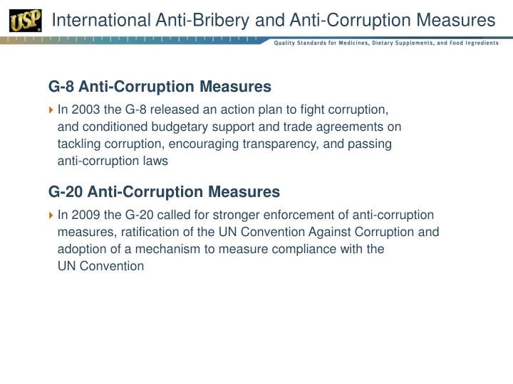International Anti-Bribery and Anti-Corruption Measures