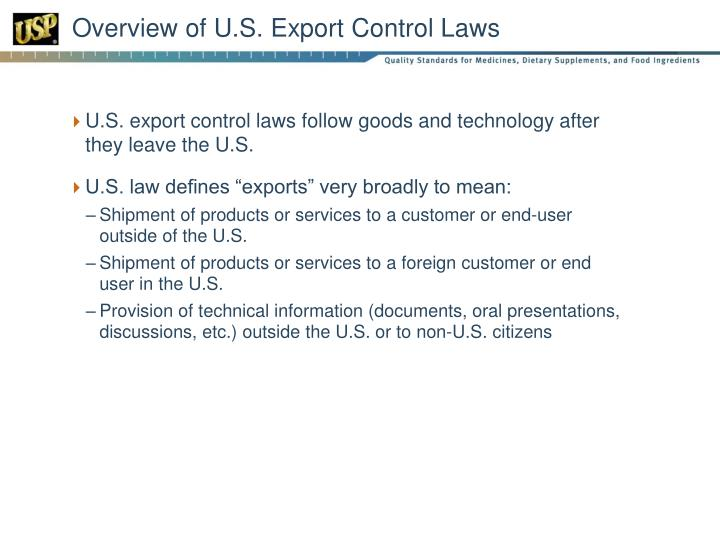 Overview of U.S. Export Control Laws
