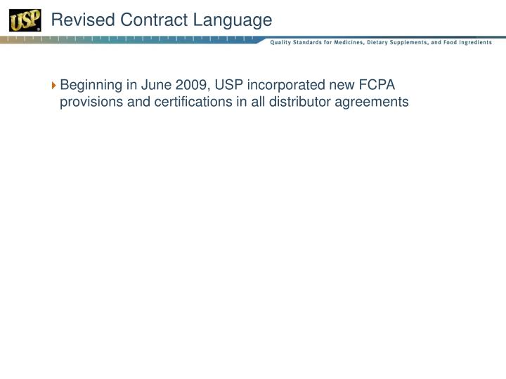 Revised Contract Language