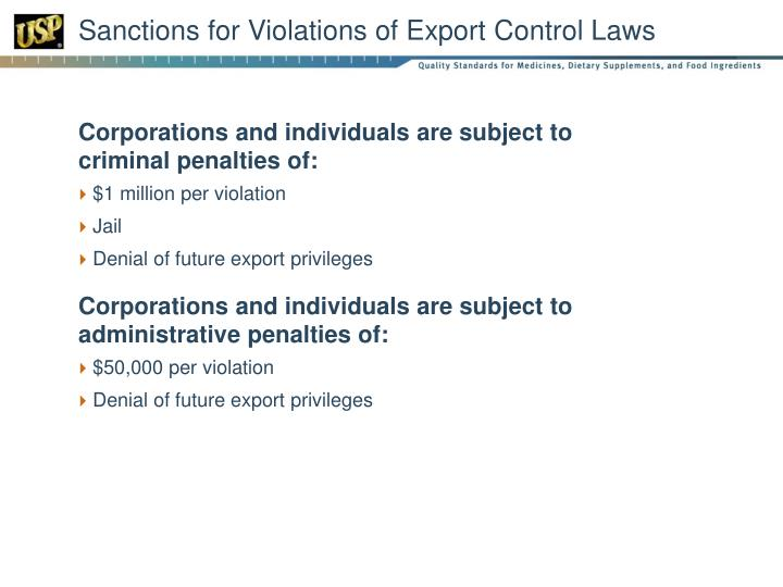 Sanctions for Violations of Export Control Laws