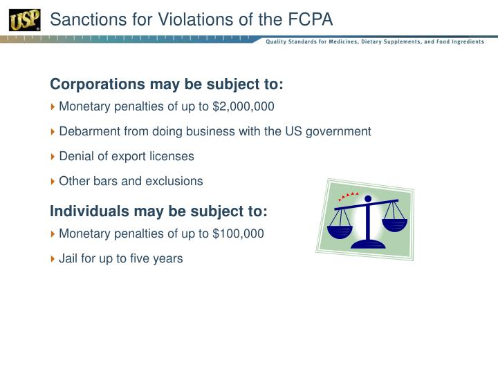 Sanctions for Violations of the FCPA
