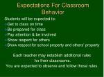expectations for classroom behavior