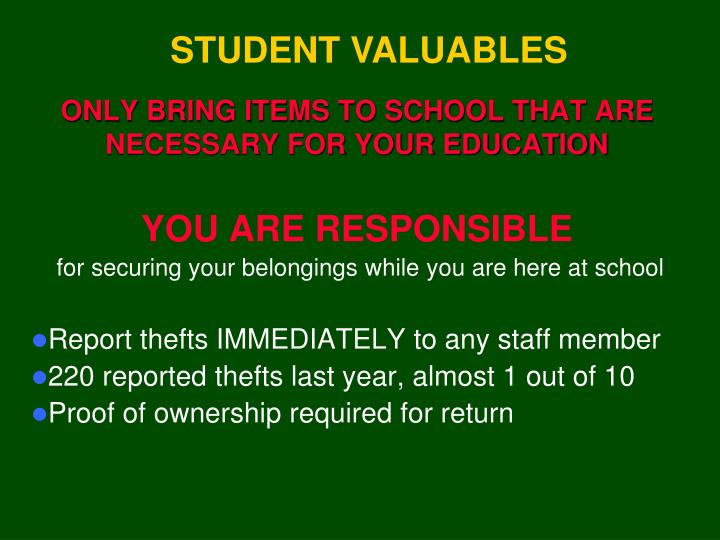 STUDENT VALUABLES
