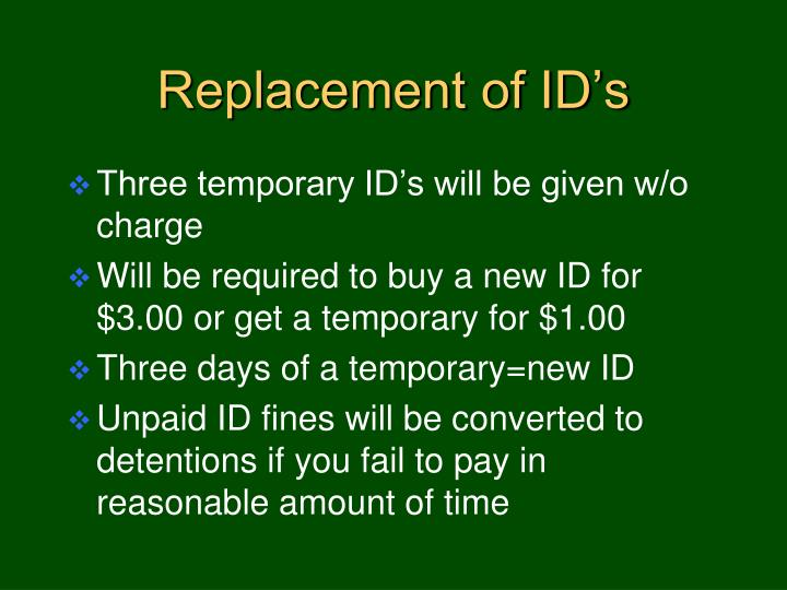 Replacement of ID's