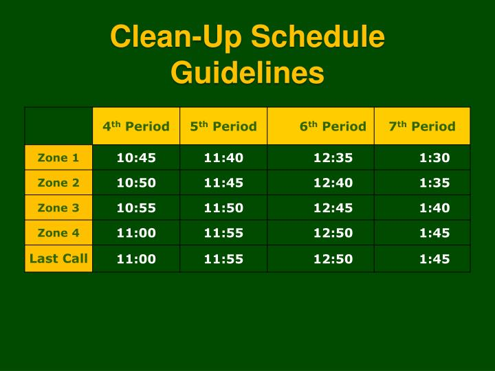 Clean-Up Schedule Guidelines