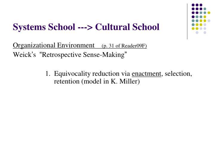 Systems School ---> Cultural School
