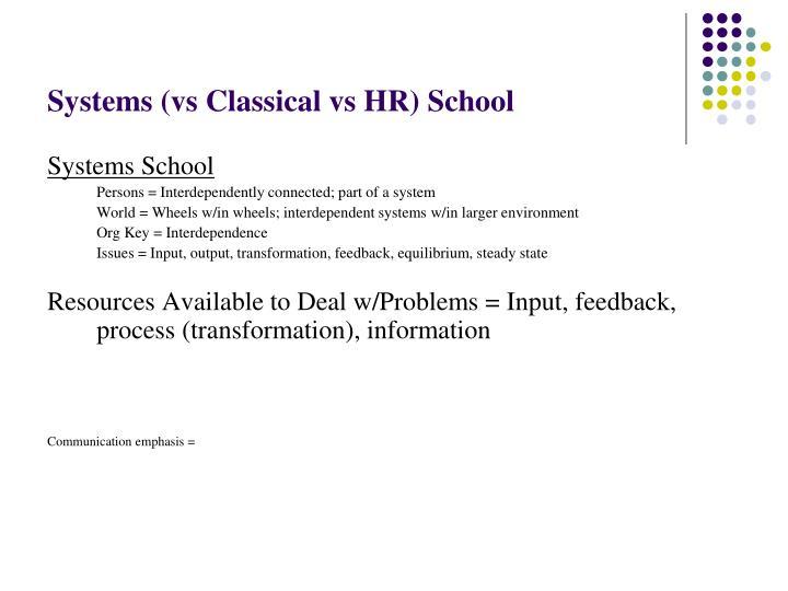 Systems (vs Classical vs HR) School