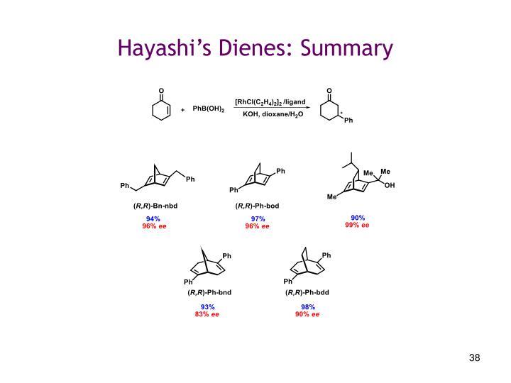 Hayashi's Dienes: Summary