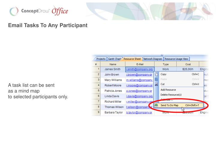 Email Tasks To Any Participant
