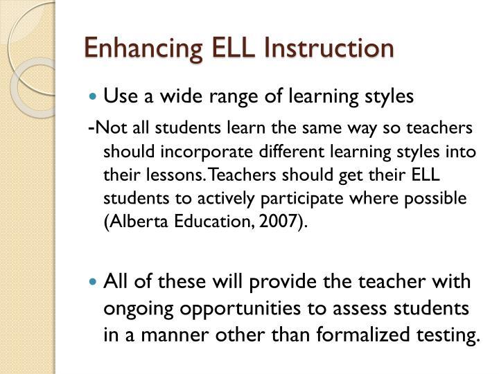 Enhancing ELL Instruction