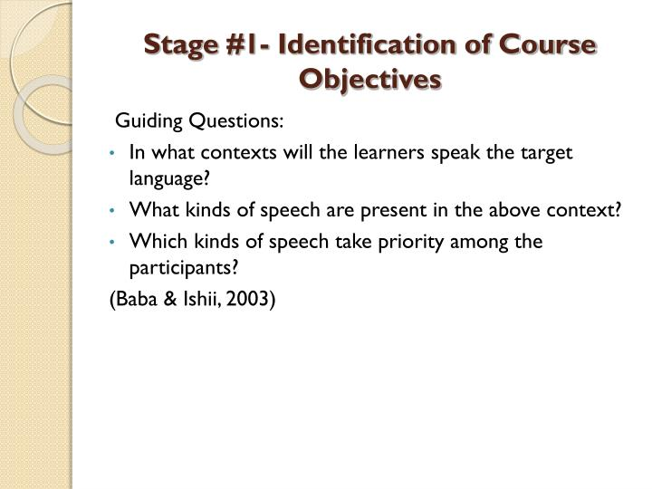 Stage #1- Identification of Course Objectives