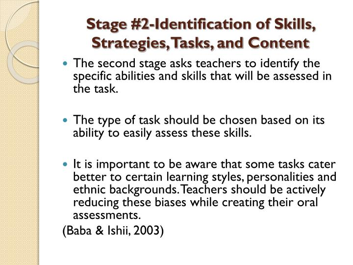 Stage #2-Identification of Skills, Strategies, Tasks, and Content