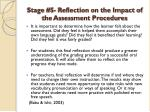 stage 5 reflection on the impact of the assessment procedures1