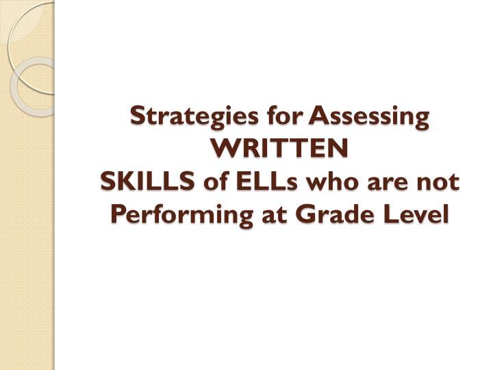 Strategies for Assessing WRITTEN