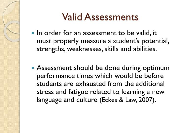 Valid Assessments