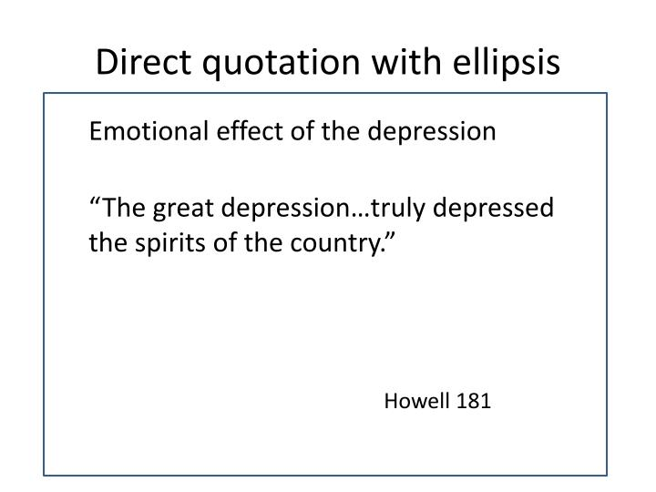 Direct quotation with ellipsis