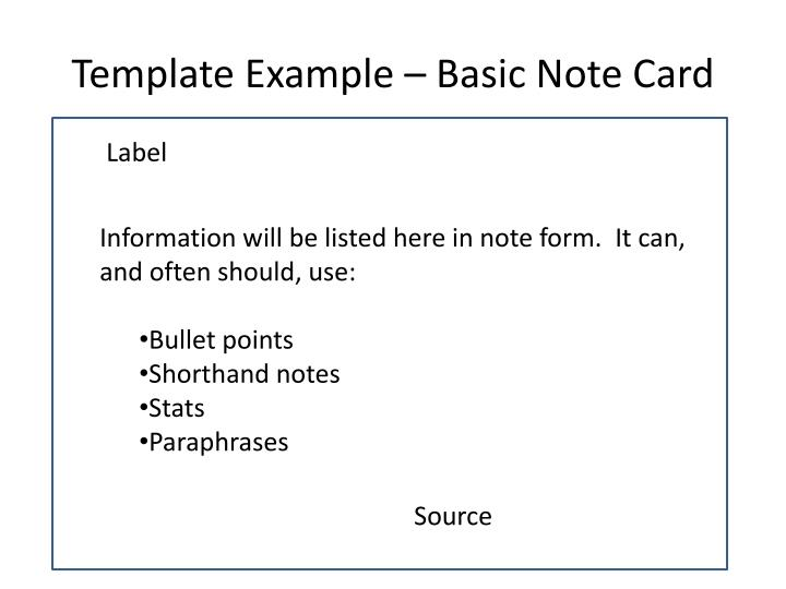 Template Example – Basic Note Card