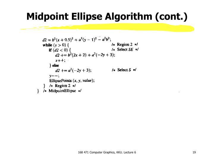 Midpoint Ellipse Algorithm (cont.)
