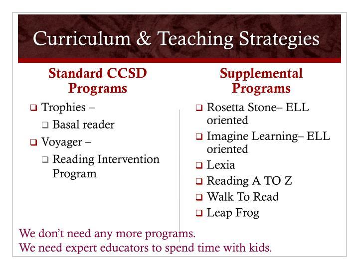 Curriculum & Teaching Strategies