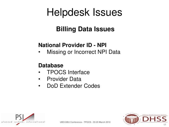 Billing Data Issues