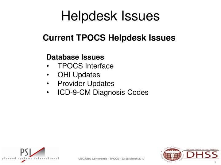 Current TPOCS Helpdesk Issues