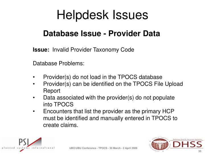 Database Issue - Provider Data