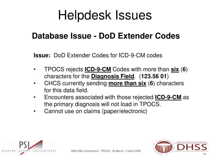 Database Issue - DoD Extender Codes