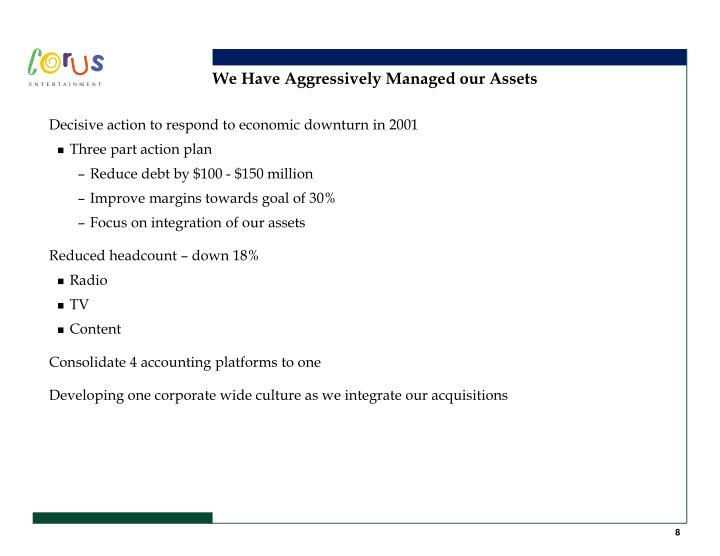 We Have Aggressively Managed our Assets