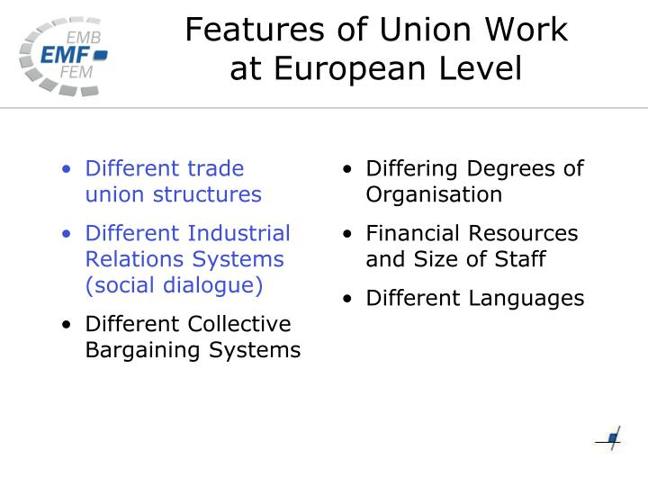 Different trade union structures