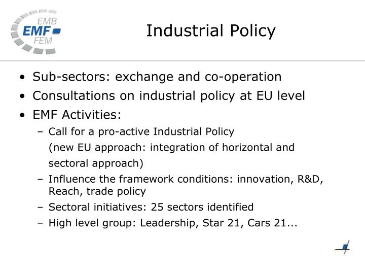 Sub-sectors: exchange and co-operation