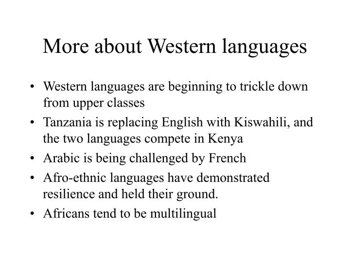 More about Western languages