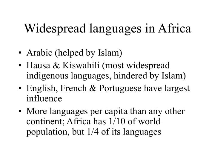 Widespread languages in africa