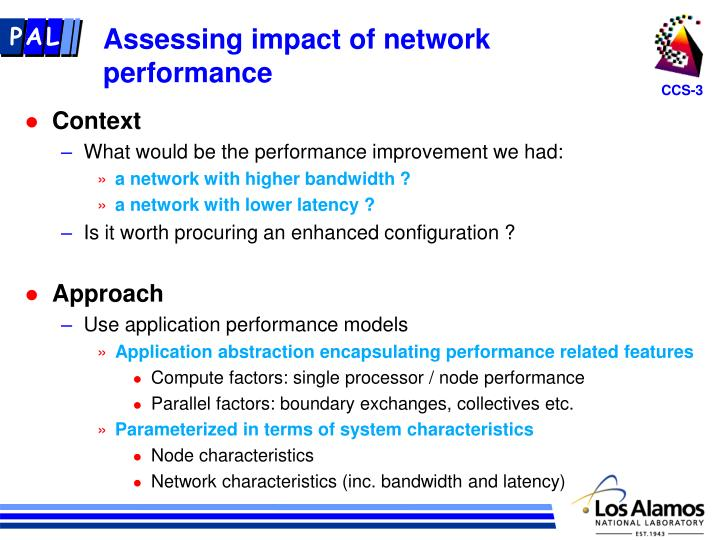 Assessing impact of network performance