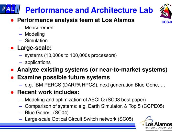 Performance and Architecture Lab